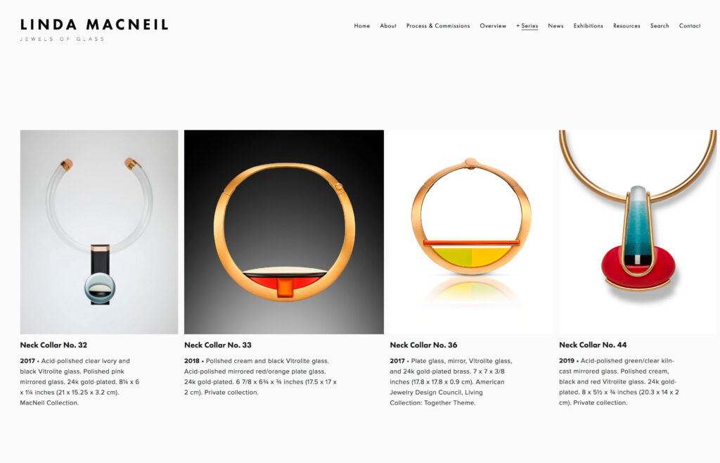 Linda MacNeil Jewels of Glass website design